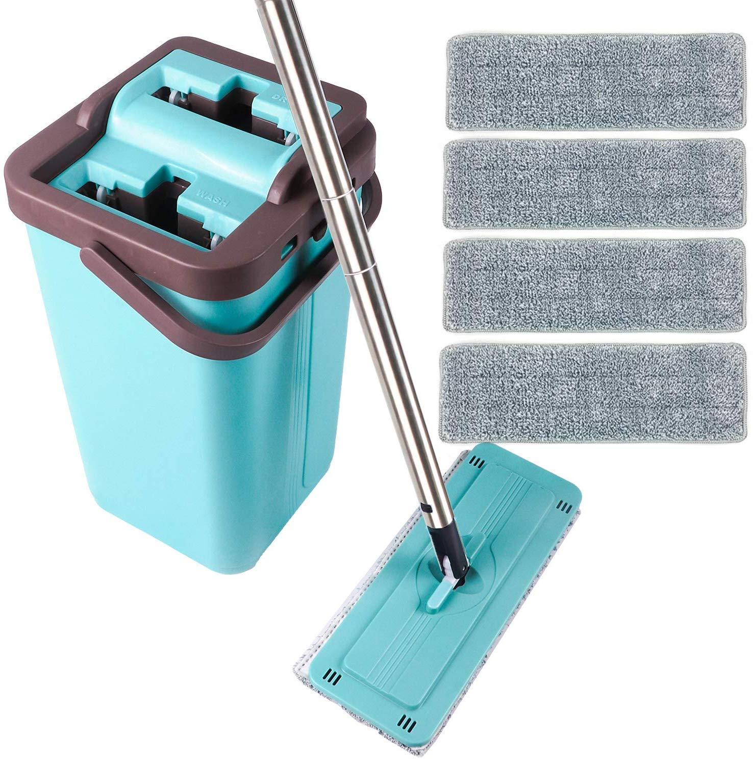 Squeeze Flat Mop 1 Bucket Wet Dry Floor Cleaning Hand Free 4 Reusable Microfiber Mop Pads for Home Kitchen Floor Cleaning Stainless Steel Handle