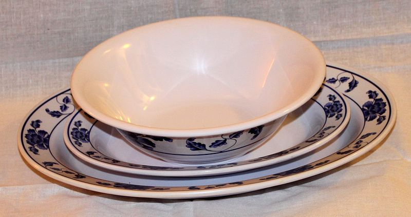 A set of melamine dinnerware