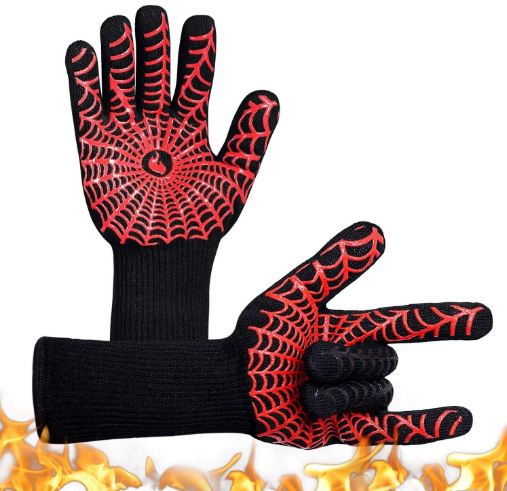 YUXIER Oven Gloves, Hot BBQ Grill Gloves,1472°F Oven Mitts for Cooking, Grilling, Kitchen, Smoker Baking, Barbecue, Fireplace, Welding, Cutting 1 Pair … (13.8inch, Red)